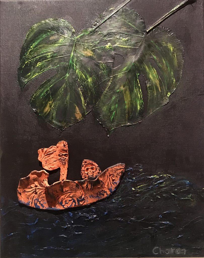 Assemblage. Keramik auf Leinwand, 40 x 50 cm
