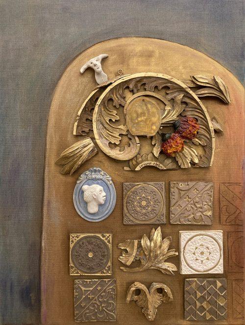 Assemblage aus Holz und Keramik auf Leinwand